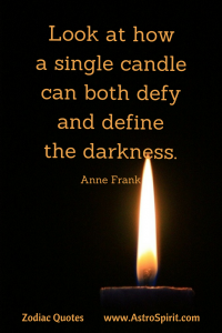 Ann Frank quote candle darkness Scorpio AstroSpirit