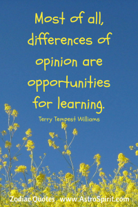 Terry Tempest Williams quote blue yellow opinion opportunities Gemini AstroSpirit