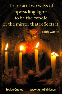 Edith Warton quote shrine light candle mirror Pisces Astrospirit