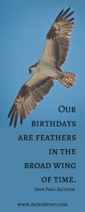 Jacqueline Lasahn, Intuitive Astrologer & Ritualist. Birthday Discount. Hawk. Feathers, Blue Sky.