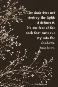 The dark does not destroy the light; it defines it. It's our fear of the dark that casts our joy into the shadows. Brené Brown