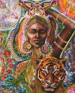 Tiger butterfly Goddess of Stregth by Tessa Mythos. Leo New Moon: Heartfire 2019