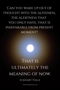Can you wake up out of thought into the aliveness, the alertness that you only have, that is inseparable from present moment? That is ultimately the meaning of now.  Eckhart Tolle